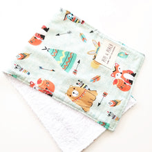 Load image into Gallery viewer, Burp Cloth - Woodland Animals in Taupe or Mint