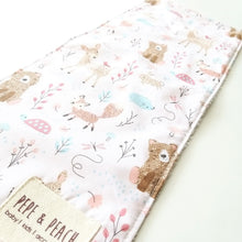 Load image into Gallery viewer, Burp Cloth - Woodland Animals in Pink or Blue