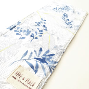 Burp Cloth - Blue Leaves