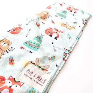Burp Cloth - Woodland Animals in Taupe or Mint