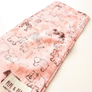 Burp Cloth - Safari Animals in Pink