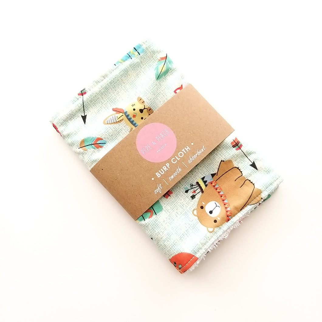 Burp Cloth - Woodland Animals in Beige or Mint