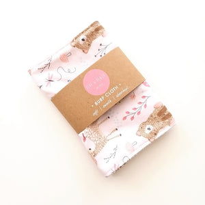 Burp Cloth - Woodland Animals in Pink or Blue