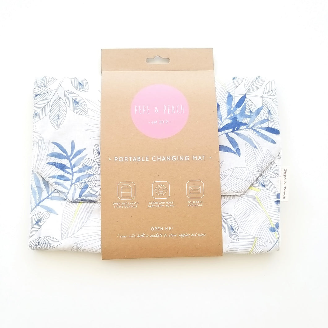 Baby Change Mat -  Blue Leaves