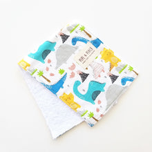 Load image into Gallery viewer, Burp Cloth - Dinosaur in Blue or White