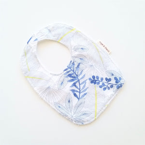 Baby Bib - Blue Leaves