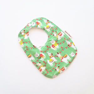 Baby Bib - Llama in Green or Orange