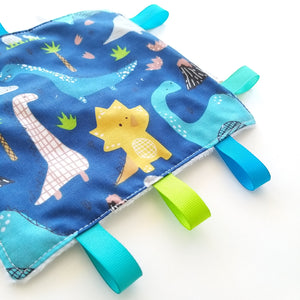 Sensory Blanket - Dinosaurs in White or Blue