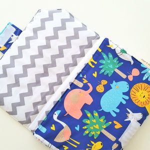 Baby Change Mat - Animals in Royal Blue