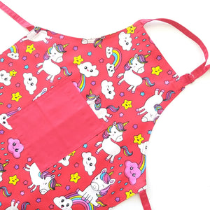 Kids Apron - Unicorn in Red