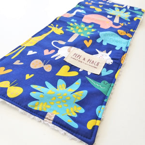 Burp Cloth -  Animals in Royal Blue