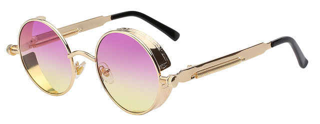 Colorful Steampunk Vintage Style Round Sunglasses