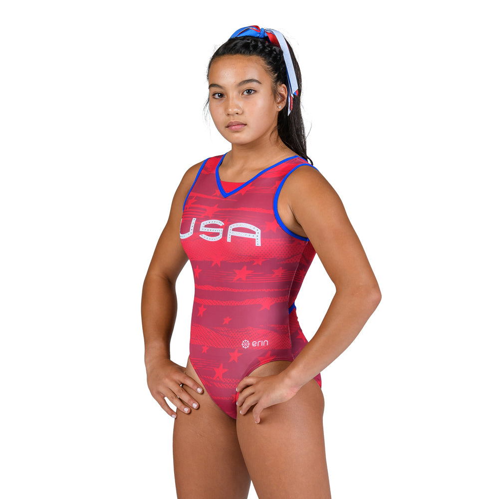 Star Spangled Sleeveless Leotard - Red