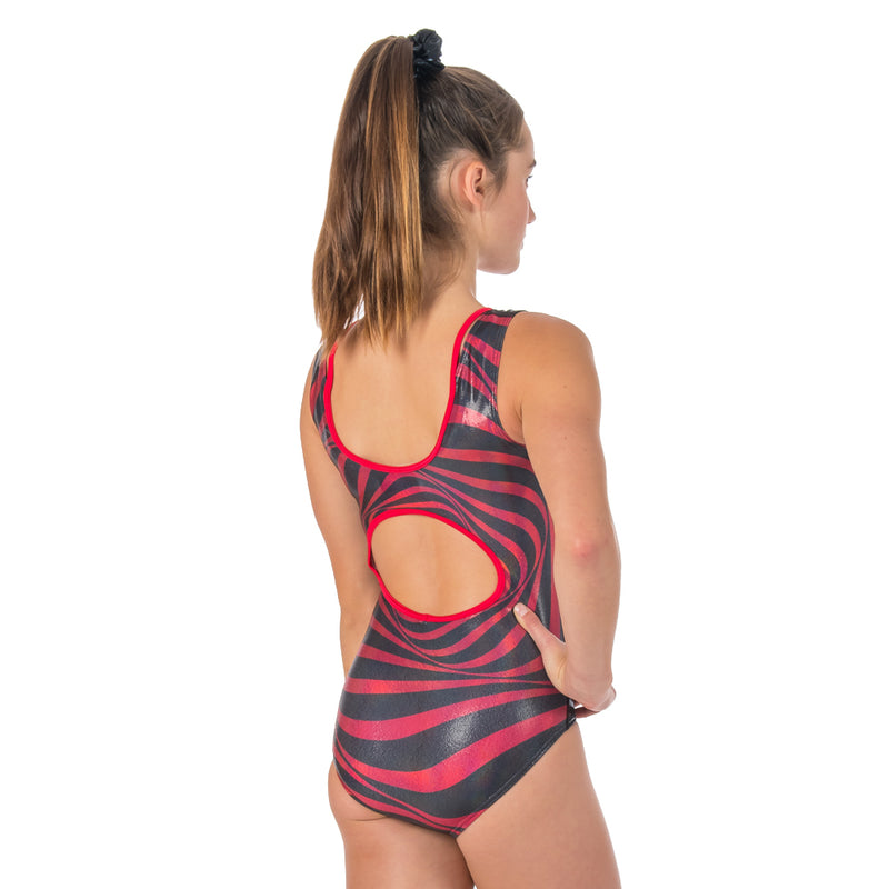 Envol Sleeveless Leotard - Black/Red