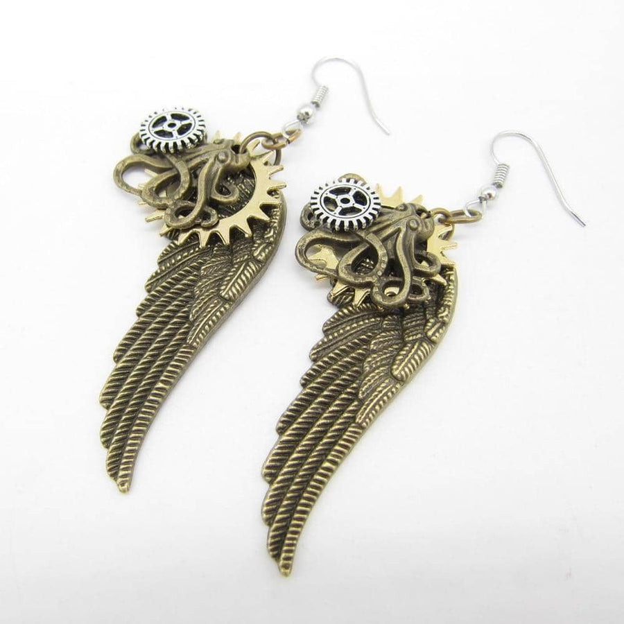 Steampunk Brass Wings Drop Earrings