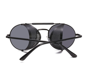 """RACER"" - Alloy Side Mesh Round Frame Sunglasses"