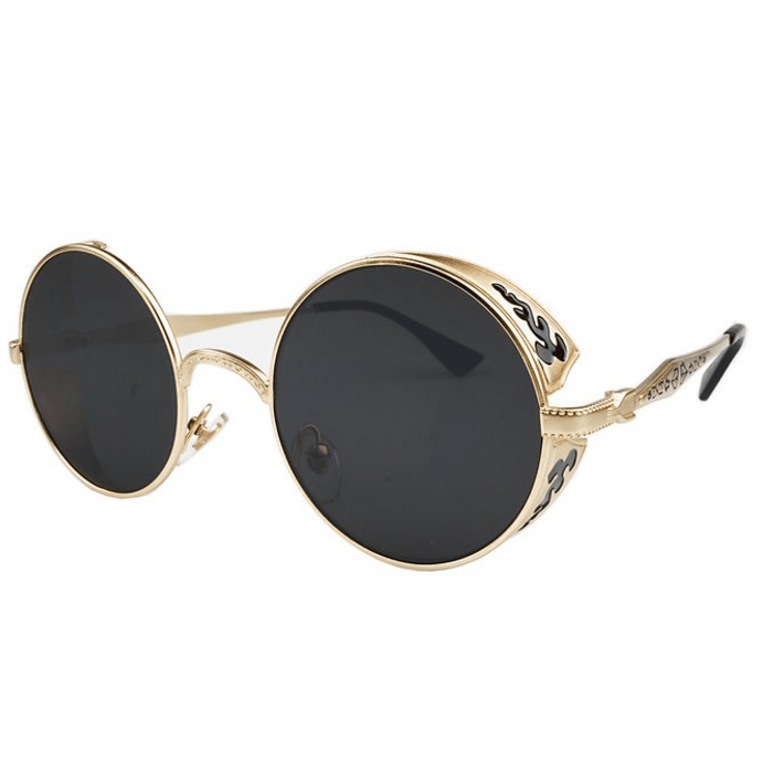 """MUMBLE"" - Vintage Circle Frame Steampunk Sunglasses"