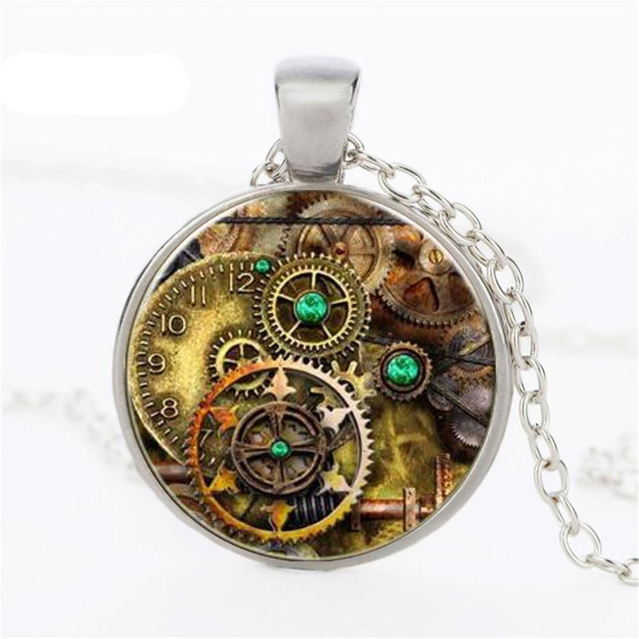 Steampunk Gears Glass Necklace