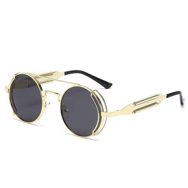 """Smith"" Metal Steampunk Sunglasses Round"