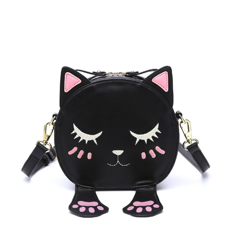 Funny and Cute Cat Leather Shoulder Bag  for Girls