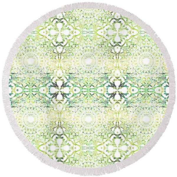 Earth Mandala Sequence | Round Beach Towel