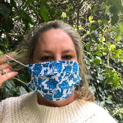 Blue Block Print Face Mask - Adult