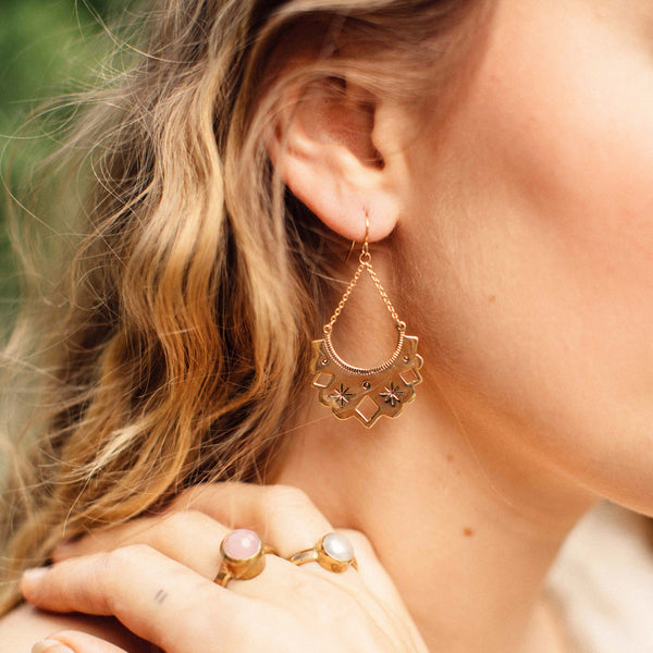 Aztec Gold Hoops - Brighton Beach Boho