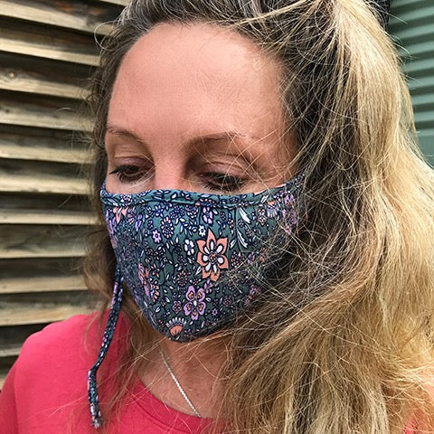 Journee Retro Floral Face Mask - Adult