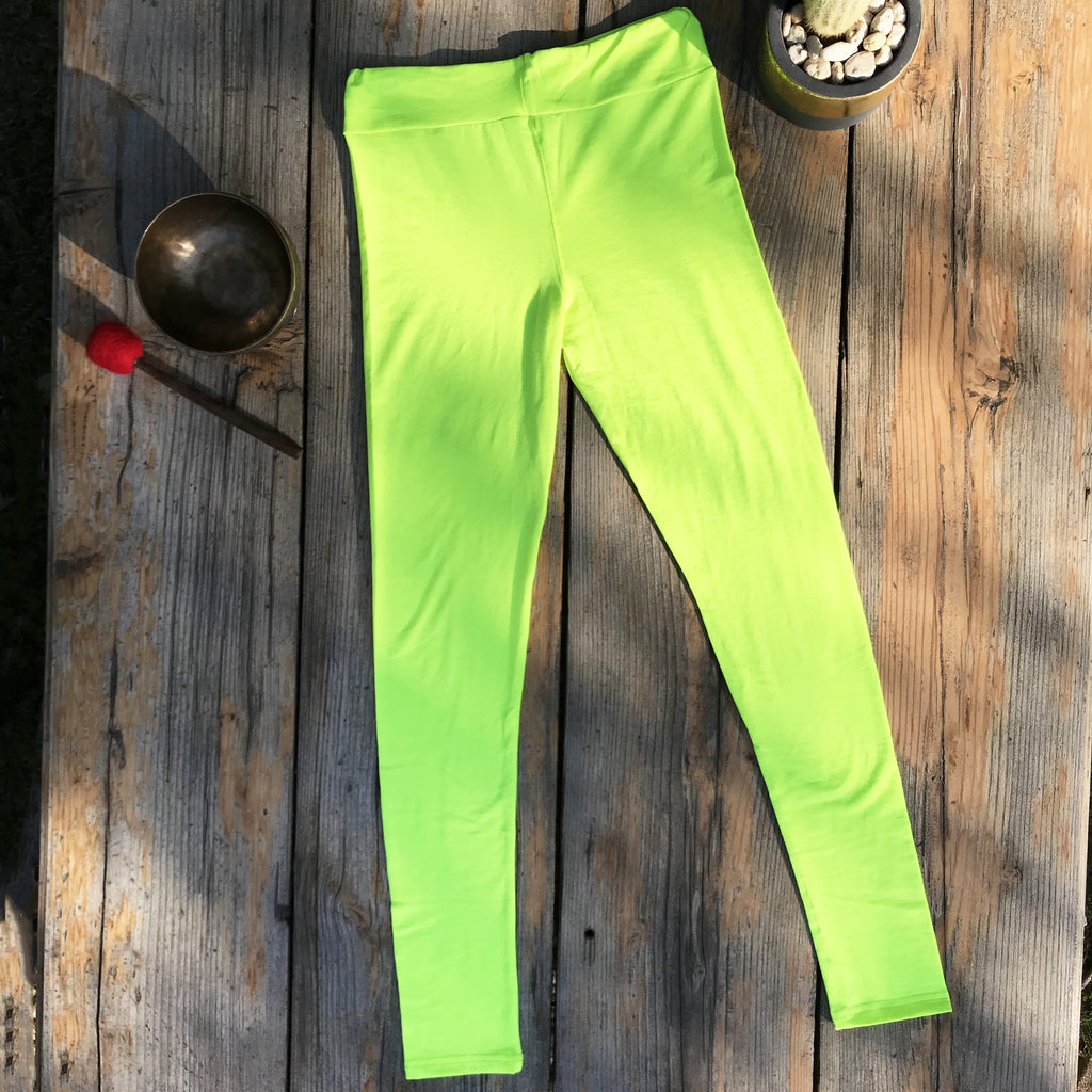 Fluro Yellow Leggings - Brighton Beach Boho