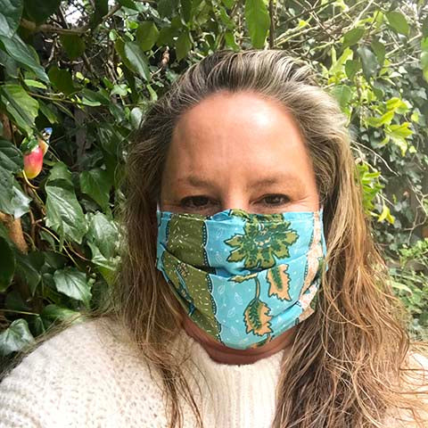 Turquoise Green Block Print Face Mask - Adult
