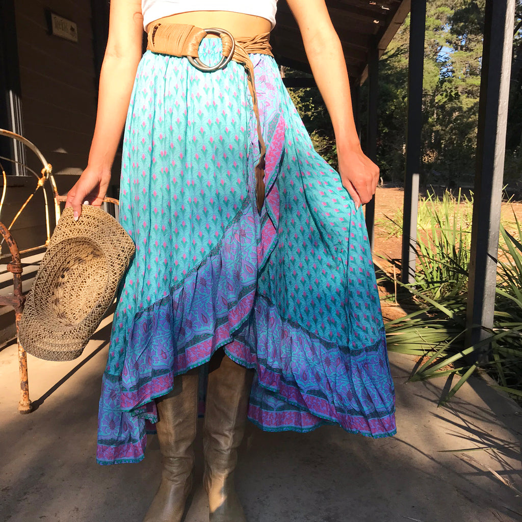 Turquoise Wrap Skirt - Brighton Beach Boho