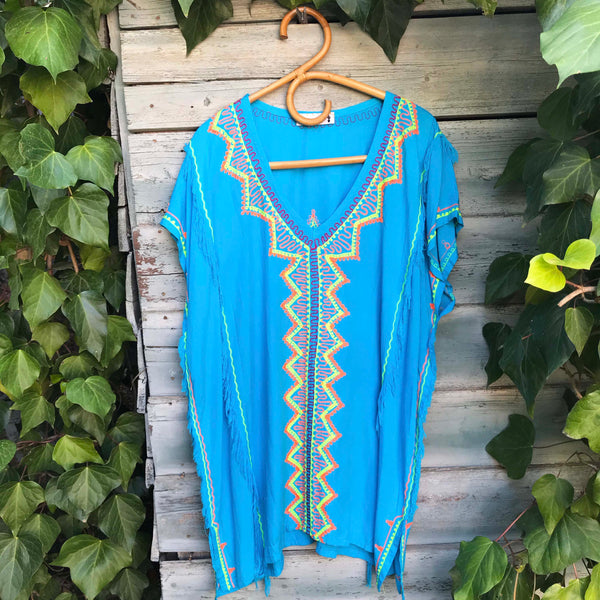 Turquoise Embroidered Tunic - Brighton Beach Boho