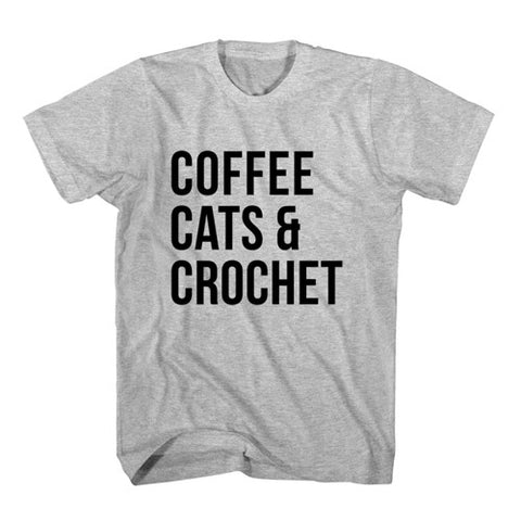 T-Shirt Coffee Cats and Crochet