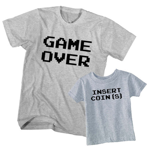 Matching T-Shirt Father Game Over Son Insert Coin