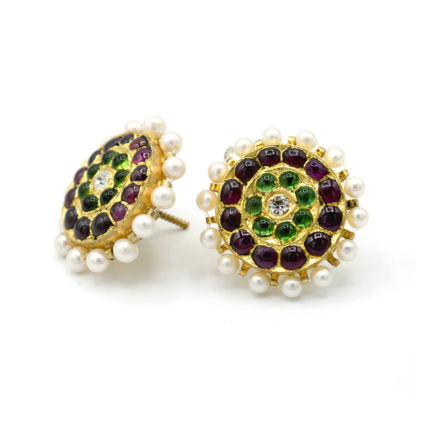 Traditional temple pearl earrings