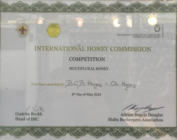 International Honey Commission 2019 First Place Award