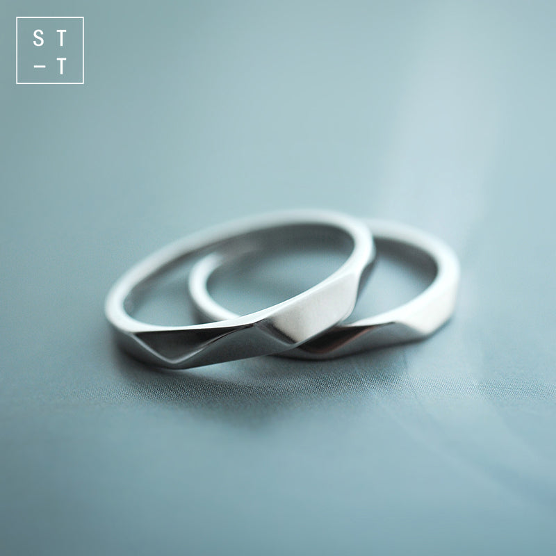 5c75a04a84 Mrs.Shen 925 Sterling Silver Simple Design Couple Ring