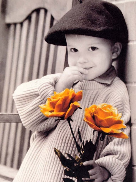 Boy with Yellow Roses