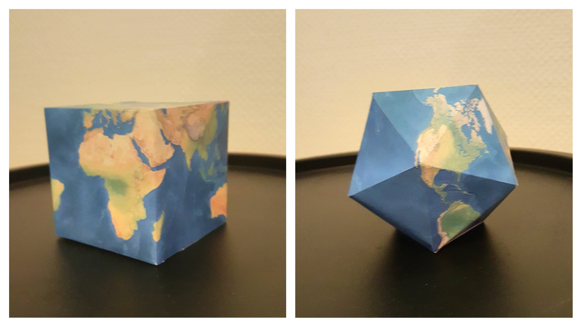 printable origami paper globes - maps that fold into globes