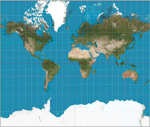 World map using the mercator map projection