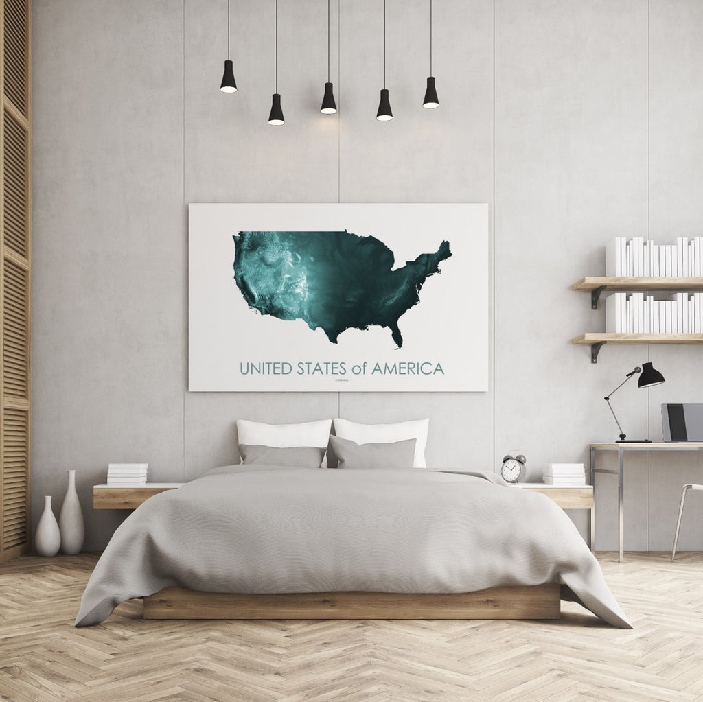 Topographic map art of the United States of America
