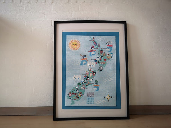 Framed map that thas been bent and distorted over time