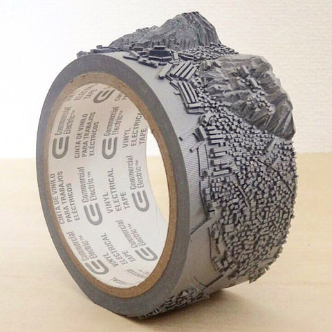 Topograhic map etched into a roll of duck tape