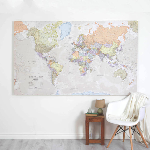A large canvas world map showing the topographic features in the landscape