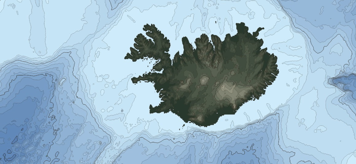 Elevation map of Iceland showing bathymetry and land elevation