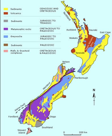 geological map of New Zealand