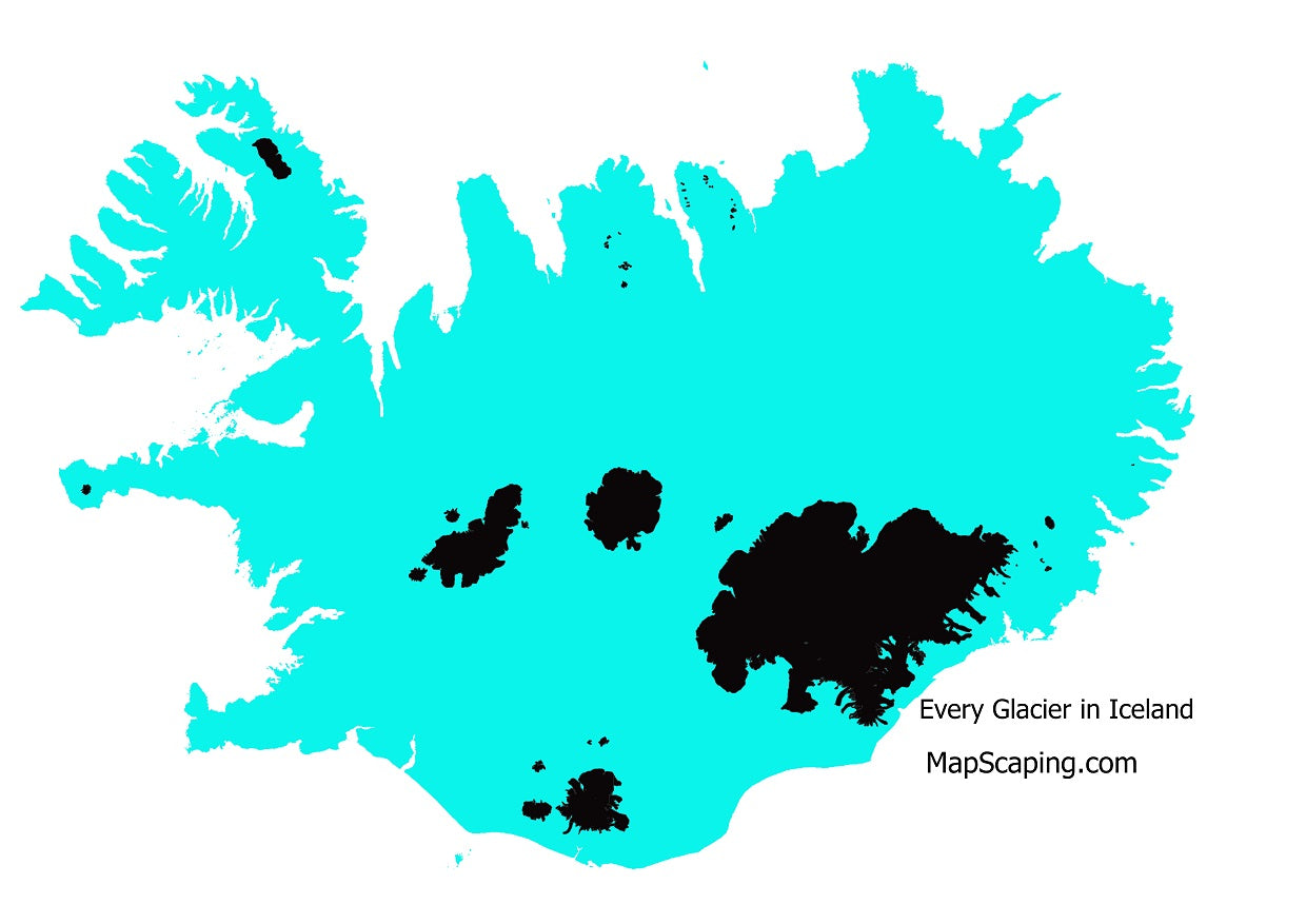 map of all the glaciers in Iceland