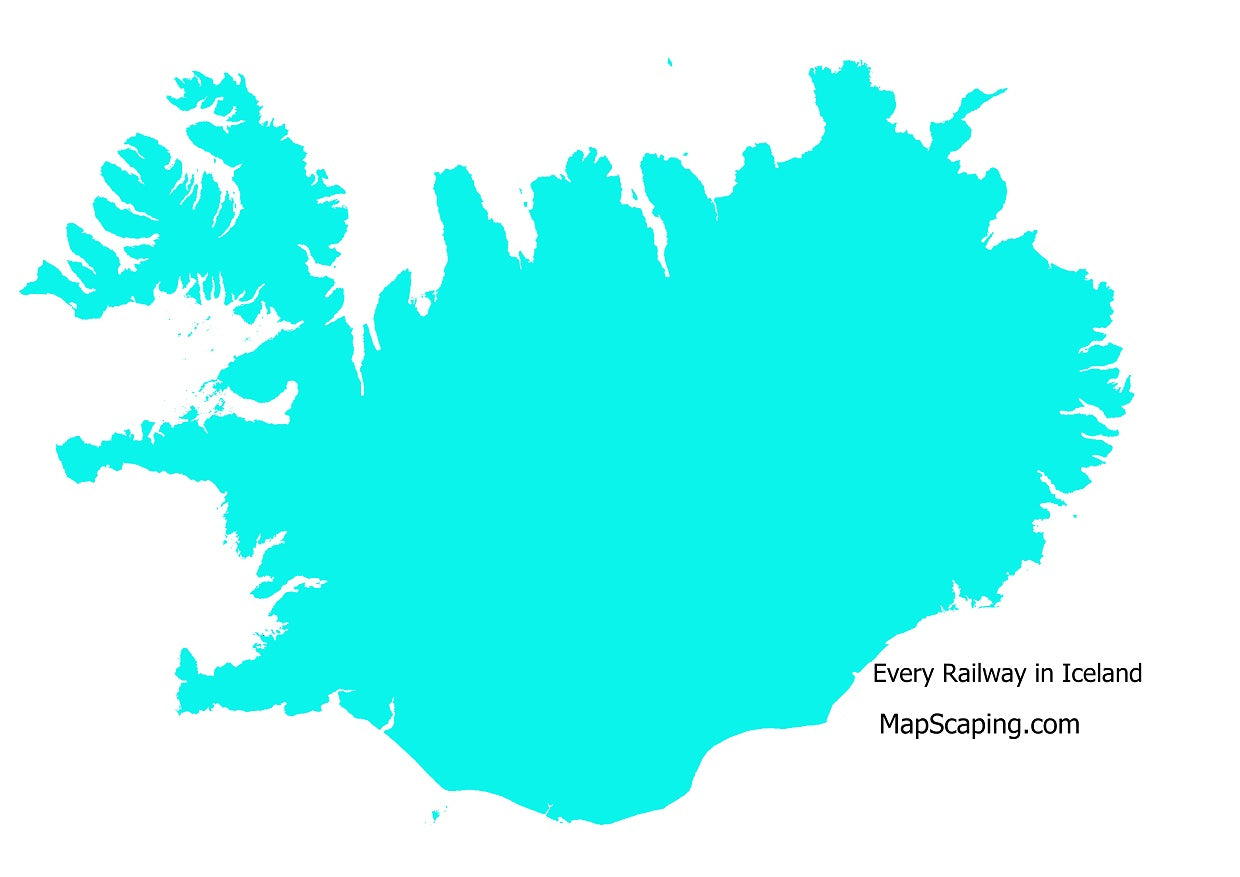 map of every railway in Iceland, rail network of Iceland