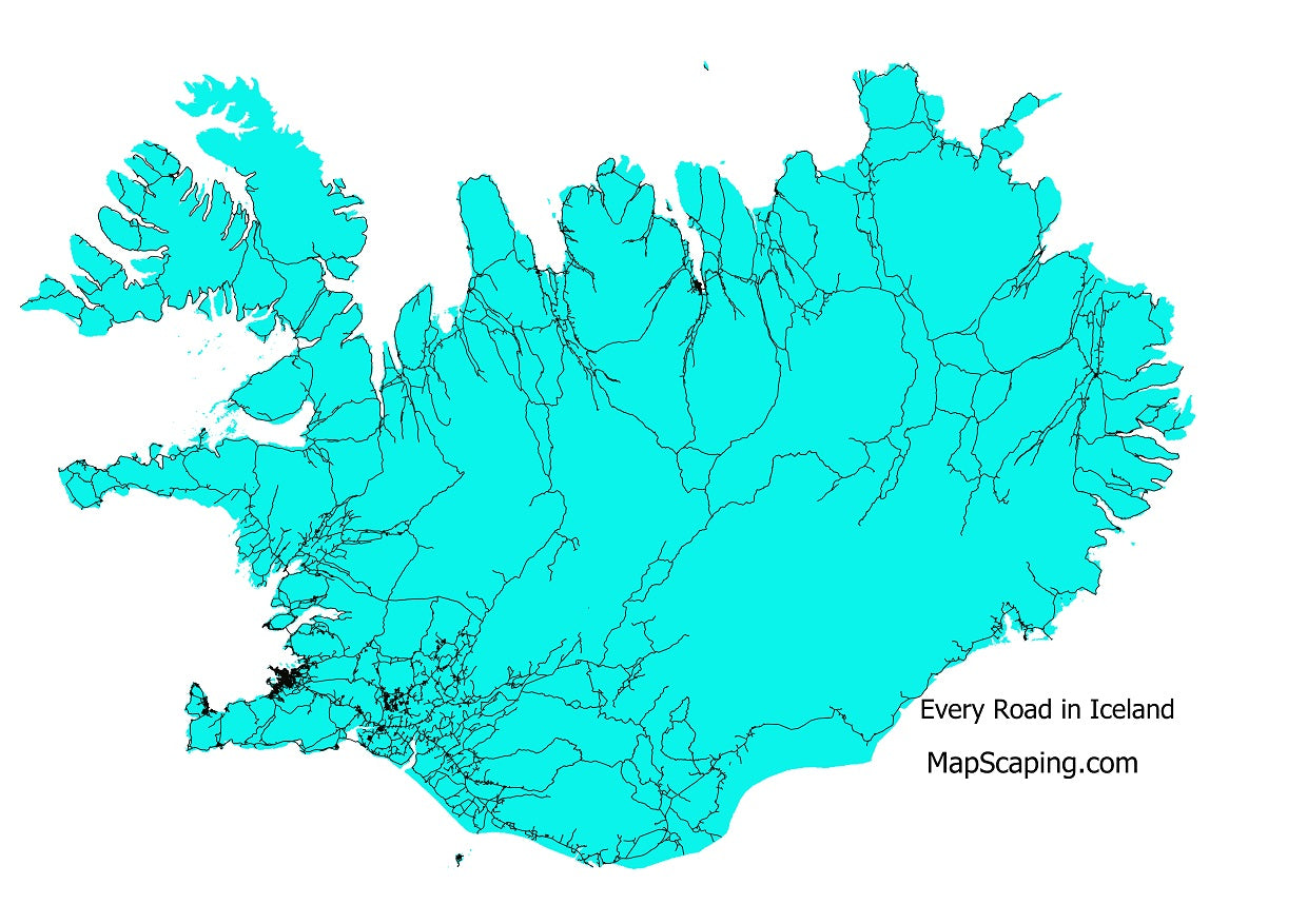 Road map of Iceland, Iceland's road network every road in Iceland