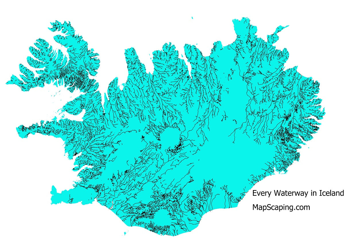 Map of all the waterways, rivers and streams in Iceland
